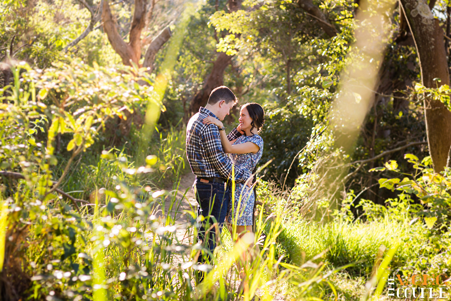 Sydney harbour national park engagement photos with beautiful light