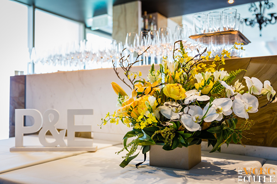 Aqua Dining Wedding Reception photos, yellow and white wedding