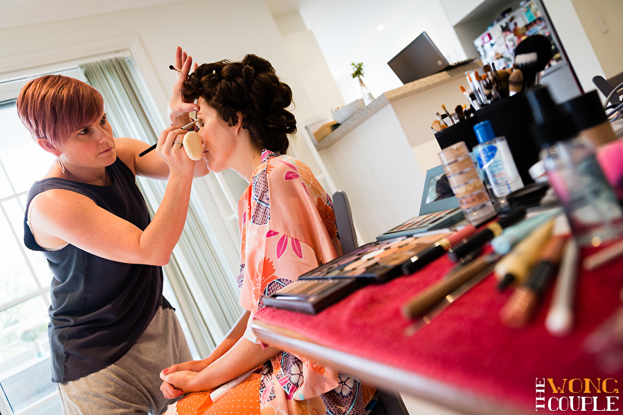 Creative wedding photos of bride getting ready