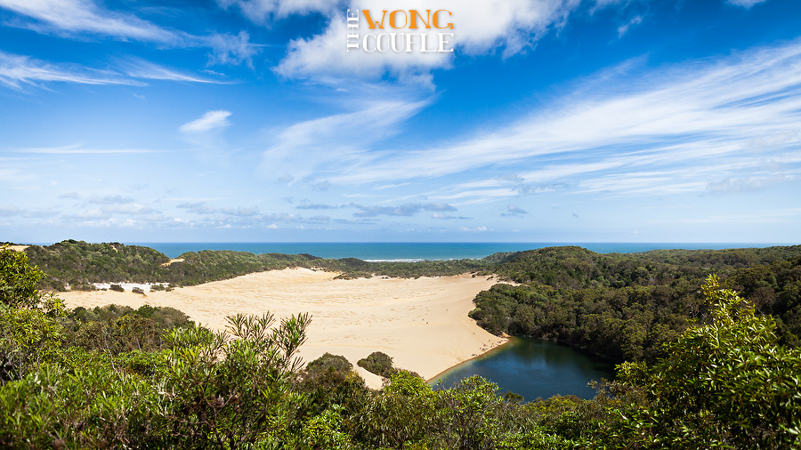 Fraser Island nature photography view of Lake Wabby and ocean