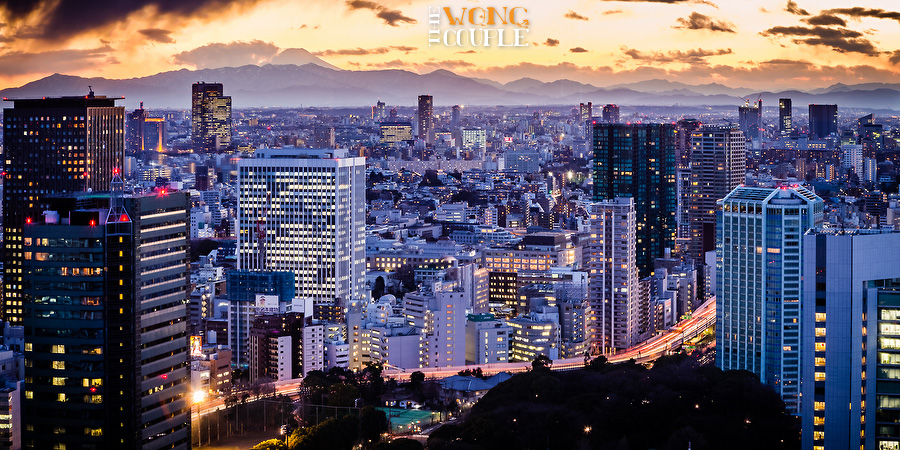Skyline cityscape of Tokyo, with Mount Fuji in the distance
