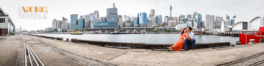 Pyrmont engagement photos, Darling Harbout panoramic image