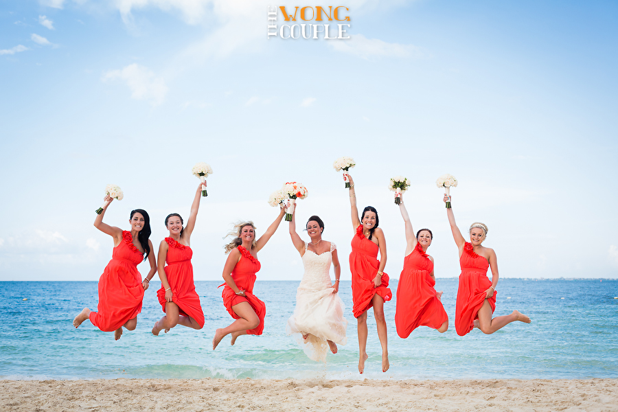 Fun Mexico wedding photography, Playa Mujeres Cancun beach wedding