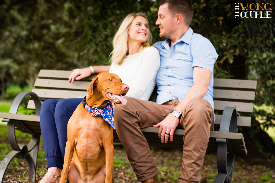 Central Park couples portrait session with dog