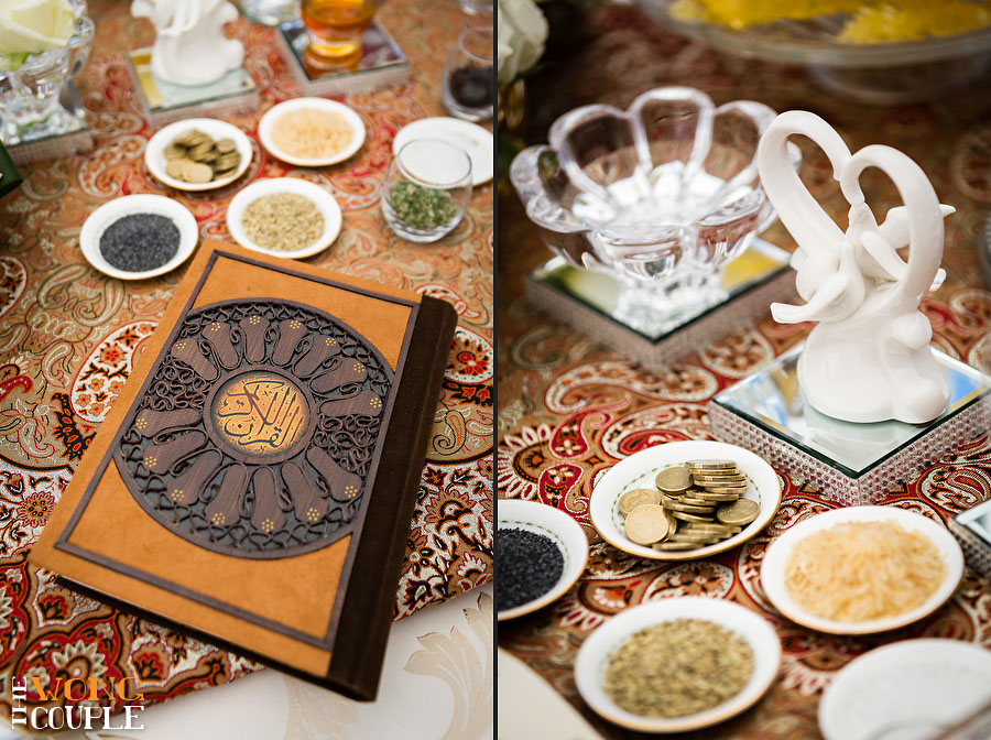 Persian wedding spread details, Iranian Aghd ceremony photos