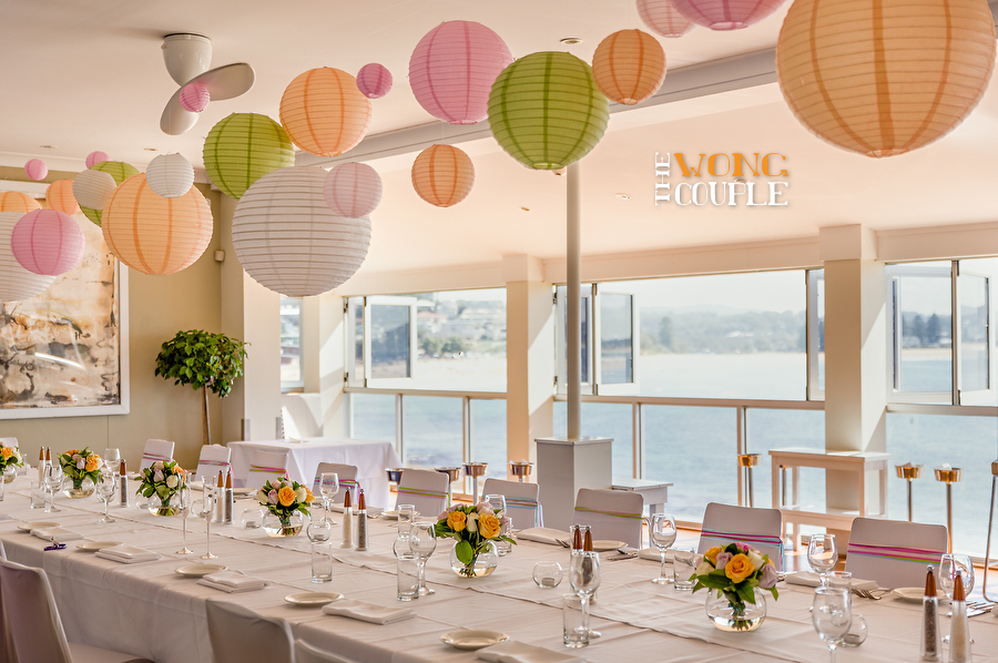 HDR Wedding Photography Peach And Pale Green Long Lunch
