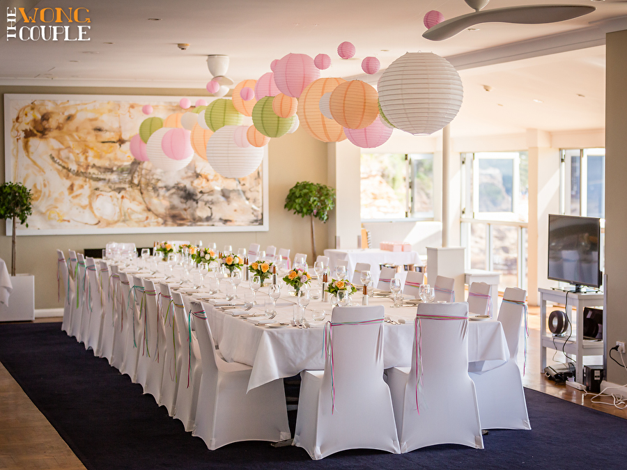 Whimsical spring wedding with lanterns and ribbons, elegant lunch wedding reception