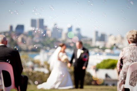 Observatory Hill Wedding Ceremony with Bubbles