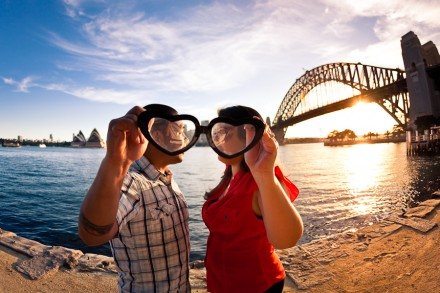 Fun and creative pre-wedding engagement session around Sydney Harbour