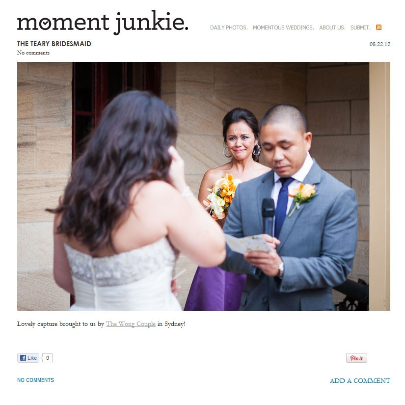 Wedding Photo Featured on Moment Junkie