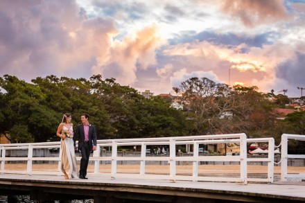 Balmoral Beach sunset wedding photos, colourful and vibrant wedding photography, peach and gold wedding, lavender and metallic wedding
