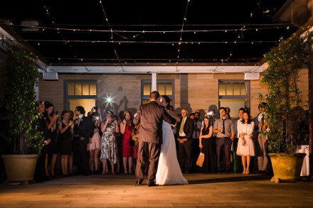 Wedding first dance under fairy lights, wedding first dance under the stars, Tea Room Gunners Barracks wedding