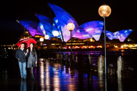 Vivid Sydney pre-wedding engagement photographers