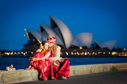 Hindu wedding Sydney, Beautiful wedding photos Sydney Opera House, vibrant colourful wedding photography