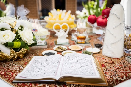 Persian wedding ceremony spread, Iranian wedding photography